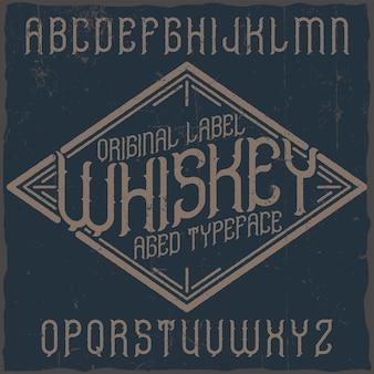 Vintage label lettertype met de naam whiskey.
