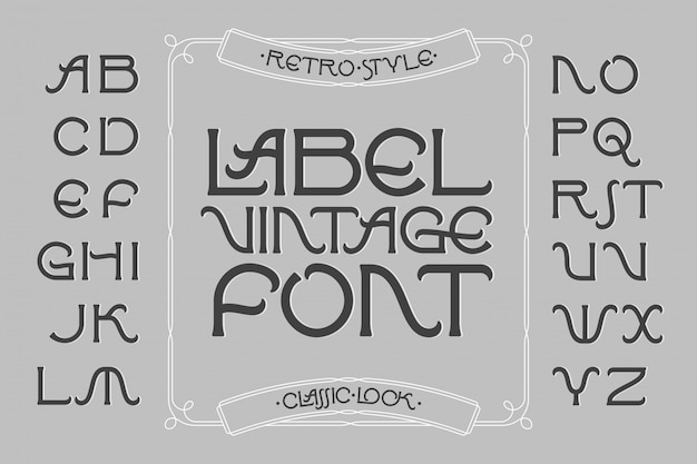 Vintage label lettertype met decoratief frame