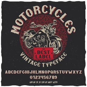 Vintage label lettertype motorfietsen poster met eenvoudig labelontwerp met handgetekende fiets