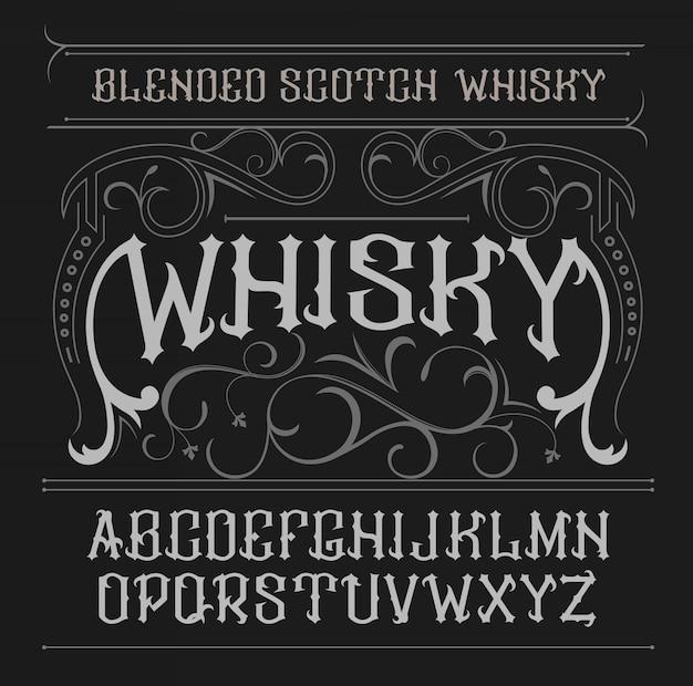 Vintage label lettertype whiskey-stijl