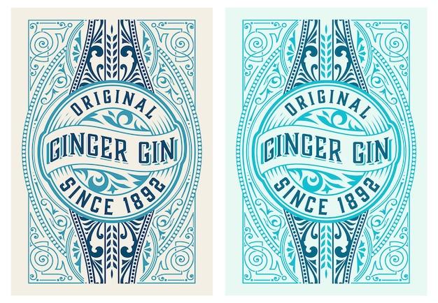 Vintage label met gin liquor design