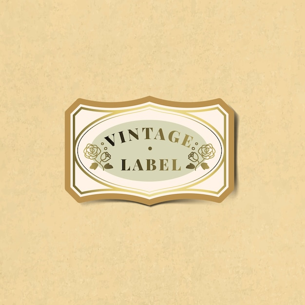 Vintage label sticker versierd met rozen vector