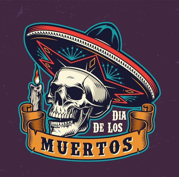 Vintage label van de mexicaanse dag van de dood