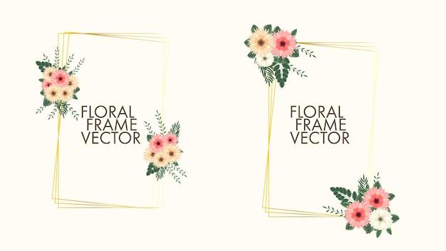 Vintage label van kleur bloemen frames in gedetailleerde stijl voor wenskaarten huwelijksuitnodigingen