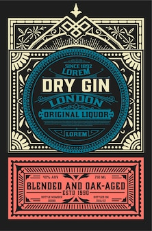 Vintage label voor drankontwerp