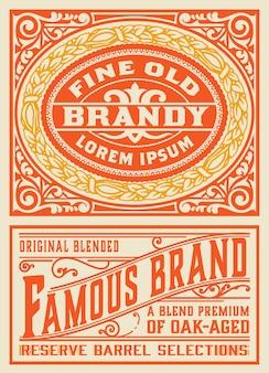 Vintage label voor verpakking. gelaagd