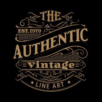 Vintage label westerse hand getekend antieke frame typografie illustratie