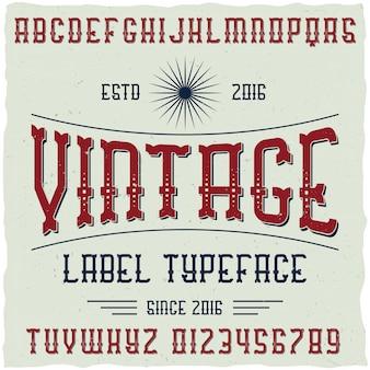 Vintage labeldoopvont met voorbeeldlabelontwerp. goed te gebruiken in retro-designlabels.