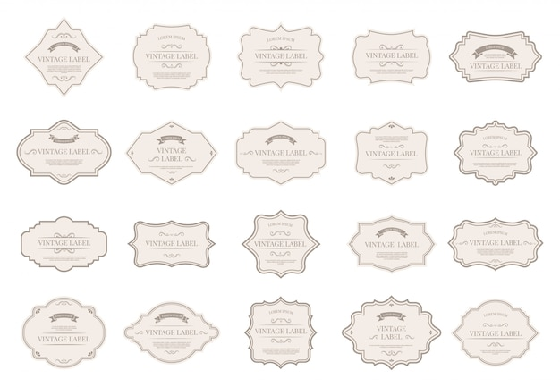 Vintage labellabels. decoratieve retro badges, decoratieve frame vormen en elegant label voor bruiloft uitnodiging kaart elementen pictogramserie. victoriaanse stijl verkoop papieren stickers