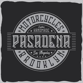 Vintage labelontwerp met belettering samenstelling op donker. t-shirt ontwerp.