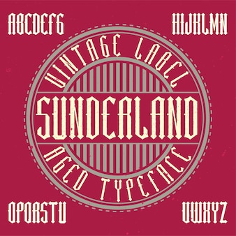 Vintage labeltype met de naam sunderland.