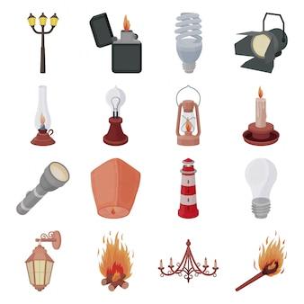 Vintage lantaarn cartoon ingesteld pictogram