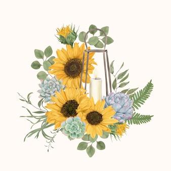 Vintage lantaarn met zonnebloemen en vetplanten