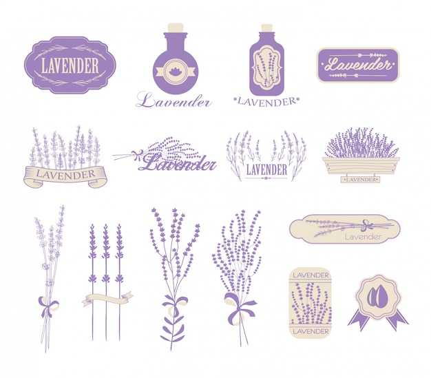 Vintage lavendel-, aromatherapie- en spa-verpakkingen