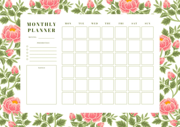 Vintage lente perzik pioen bloem maandelijkse planner sjabloon