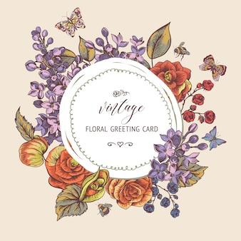 Vintage lente wenskaart met bloeiende bloemen van begonia, lila