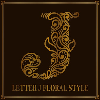 Vintage letter j bloemmotiefstijl