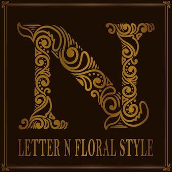 Vintage letter n bloemmotiefstijl