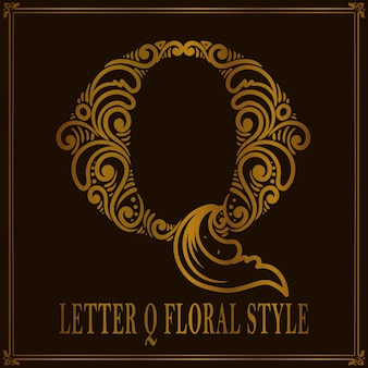Vintage letter q bloemmotief stijl