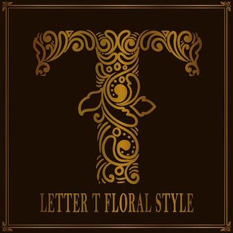Vintage letter t bloemmotief stijl