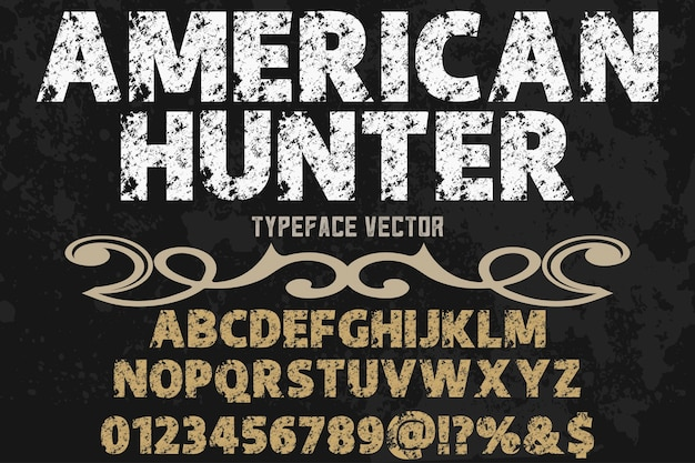 Vintage letters alfabetische grafische stijl amerikaanse jager