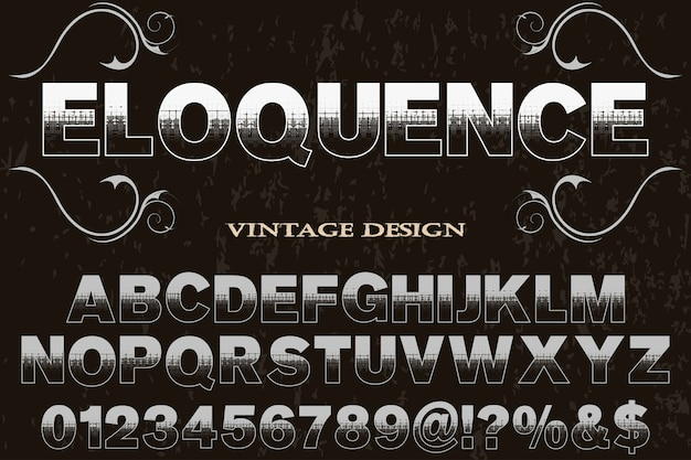 Vintage lettersoort label welsprekendheid
