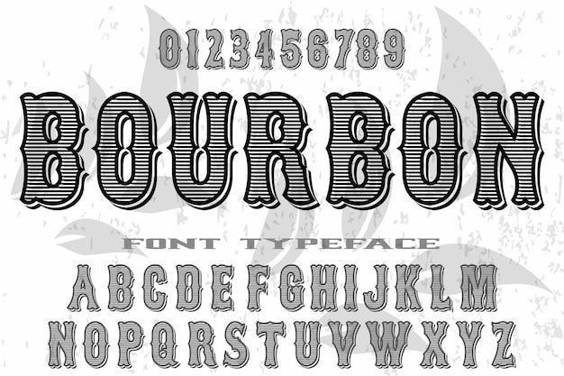 Vintage lettertype alfabet oude stijl vector met de naam bourbon