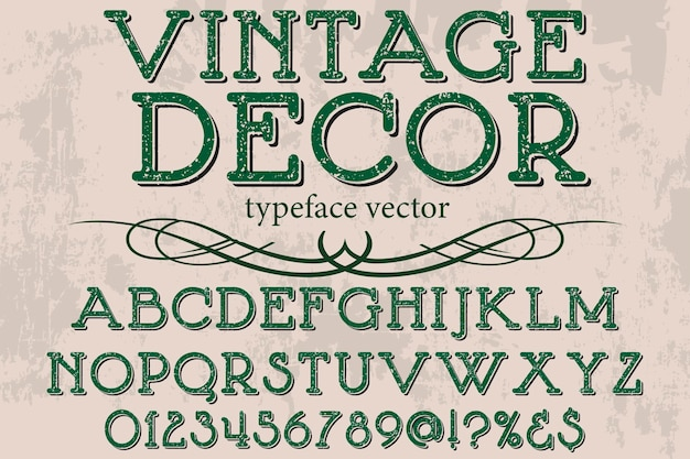 Vintage lettertype alfabetische grafische stijl decor