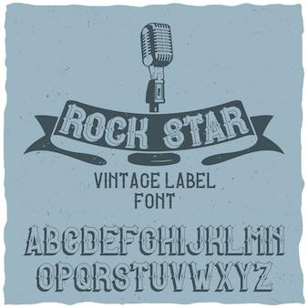 Vintage lettertype genaamd rock star