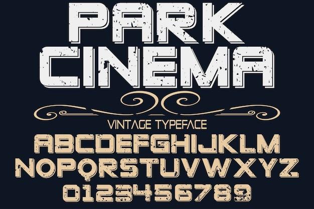 Vintage lettertype grafische stijl parkbioscoop