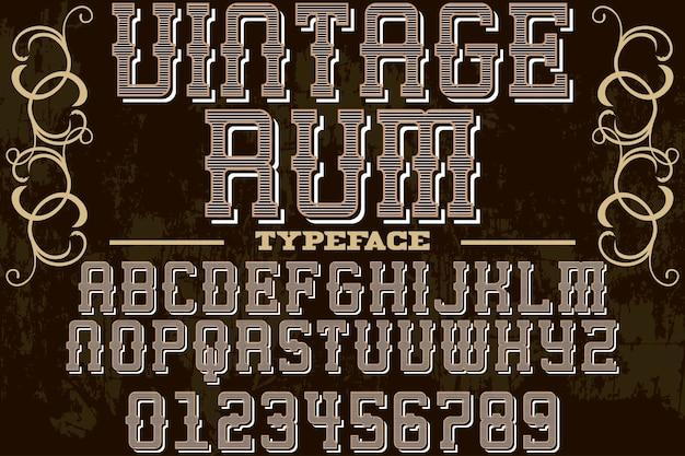 Vintage lettertype grafische stijl rum