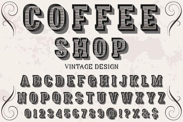 Vintage lettertype handgemaakt koffiewinkel