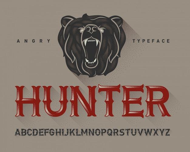 Vintage lettertype ingesteld met beer hoofd illustratie