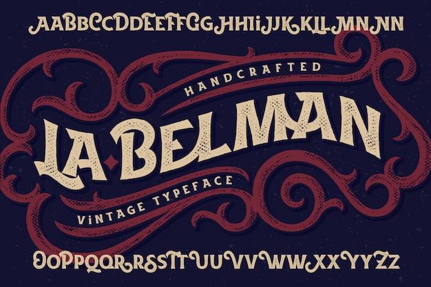 Vintage lettertype ingesteld met decoratieve versiering