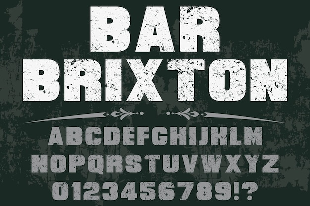 Vintage lettertype kleurrijke retro lettertype bar brixton