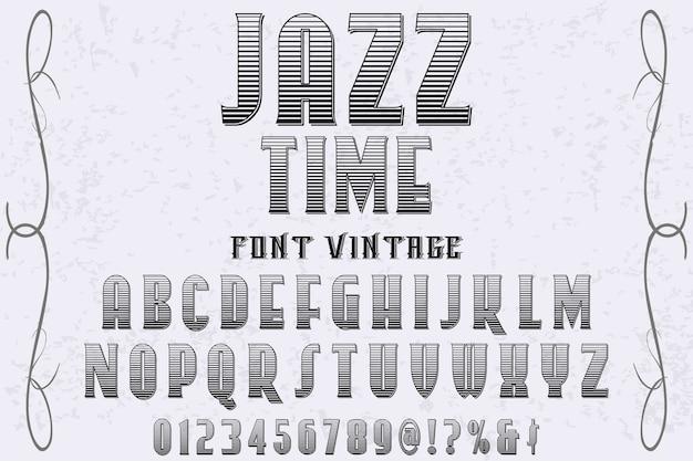 Vintage lettertype labelontwerp jazztijd