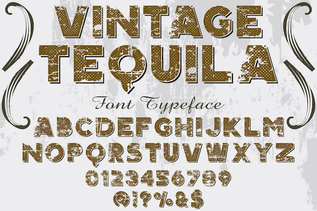 Vintage lettertype labelontwerp tequila