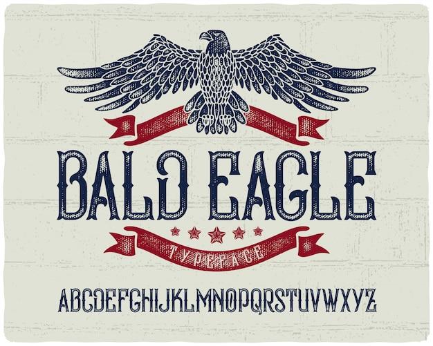 Vintage lettertype met bald eagle illustratie