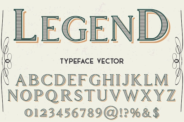 Vintage lettertype ontwerp legende