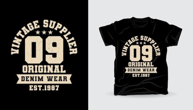 Vintage leverancier nul negen varsity typografie t-shirt printontwerp