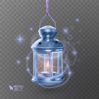 Vintage lichtgevende lantaarn van blauwe kleur, met verlichting, glanzende effecten, geïsoleerd