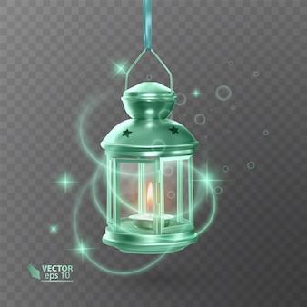 Vintage lichtgevende lantaarn van groene kleur, met verlichting, glanzende effecten, geïsoleerd