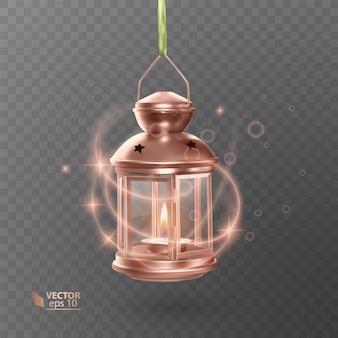 Vintage lichtgevende lantaarn van oranje kleur, met verlichting, glanzende effecten, geïsoleerd