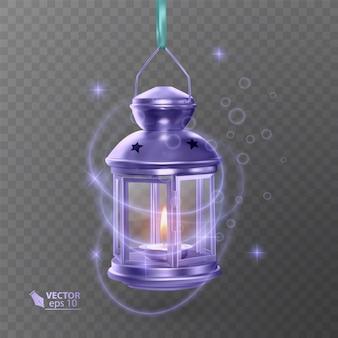 Vintage lichtgevende lantaarn van paarse kleur, met verlichting, glanzende effecten, geïsoleerd