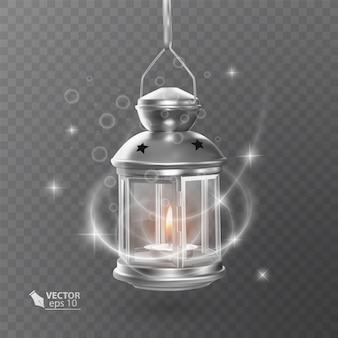 Vintage lichtgevende lantaarn van witte kleur, met verlichting, glanzende effecten, geïsoleerd