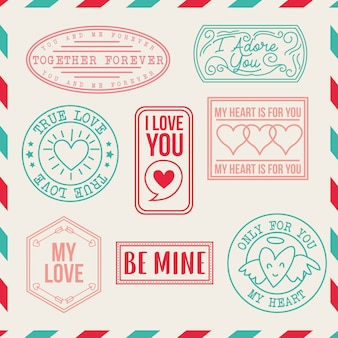Vintage liefde stempels set