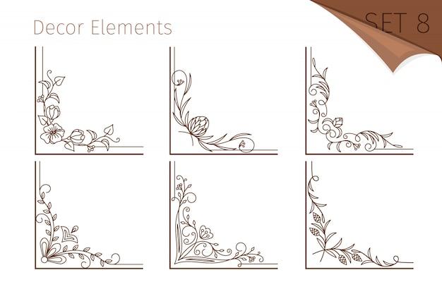 Vintage lijn bloemenhoeken