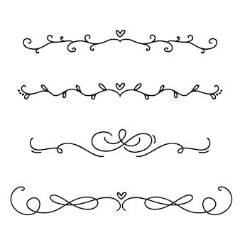 Vintage lijn elegante scheidingslijnen en scheidingslijnen, wervelingen en hoeken decoratieve ornamenten.