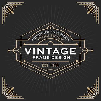 Vintage lijn frame ontwerp voor labels, banner, logo, embleem