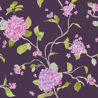 Vintage lila bloemen naadloos patroon